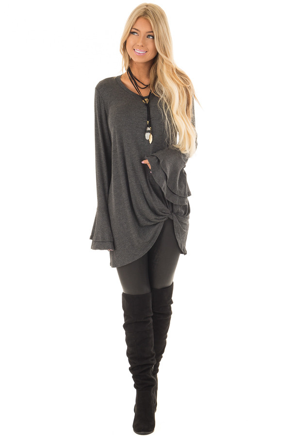 Charcoal Tiered Bell Sleeve Top with Twist Front Detail front full body