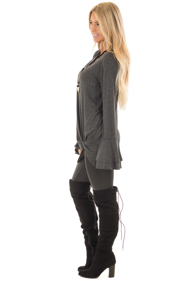 Charcoal Tiered Bell Sleeve Top with Twist Front Detail side full body
