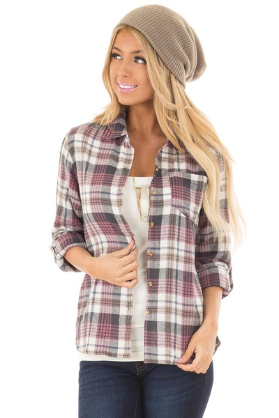 Ivory and Mauve Plaid Button Up Top with Roll Up Sleeves front closeup