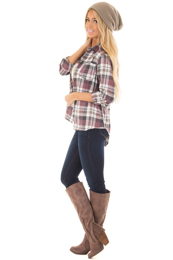 Ivory and Mauve Plaid Button Up Top with Roll Up Sleeves side full body