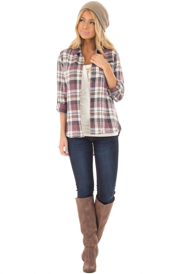 Ivory and Mauve Plaid Button Up Top with Roll Up Sleeves front full body