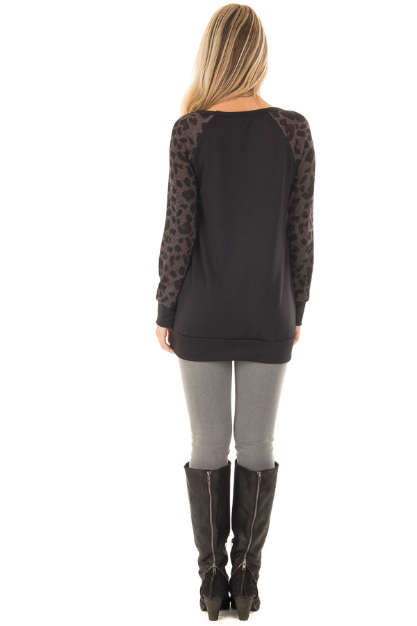 Black Top with Leopard Raglan Sleeves and Sequin Pocket back full body