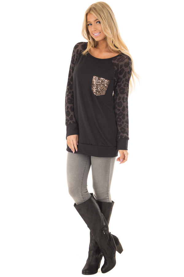 Black Top with Leopard Raglan Sleeves and Sequin Pocket front full body