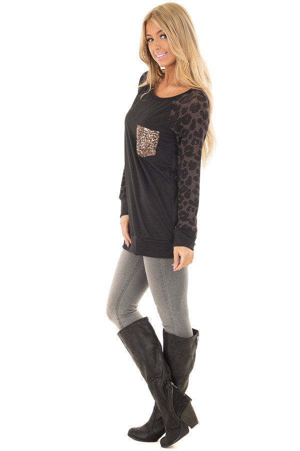 Black Top with Leopard Raglan Sleeves and Sequin Pocket side full body