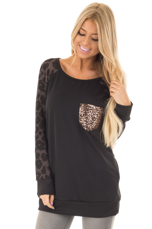Black Top with Leopard Raglan Sleeves and Sequin Pocket front closeup