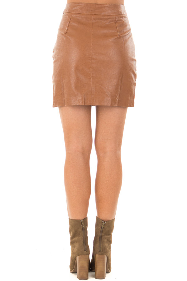 Toffee Embroidered Faux Leather Short Skirt back