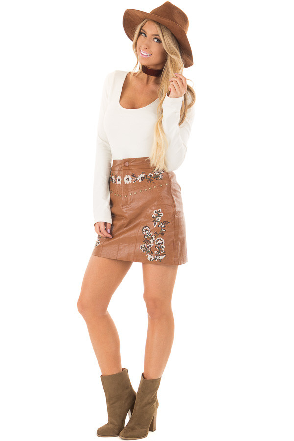 Toffee Embroidered Faux Leather Short Skirt front full body