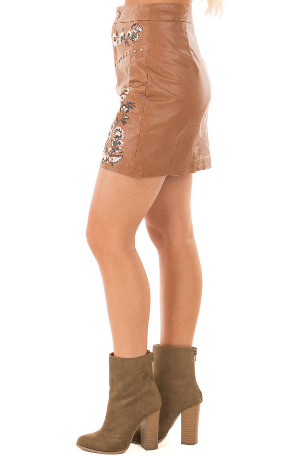 Toffee Embroidered Faux Leather Short Skirt left leg
