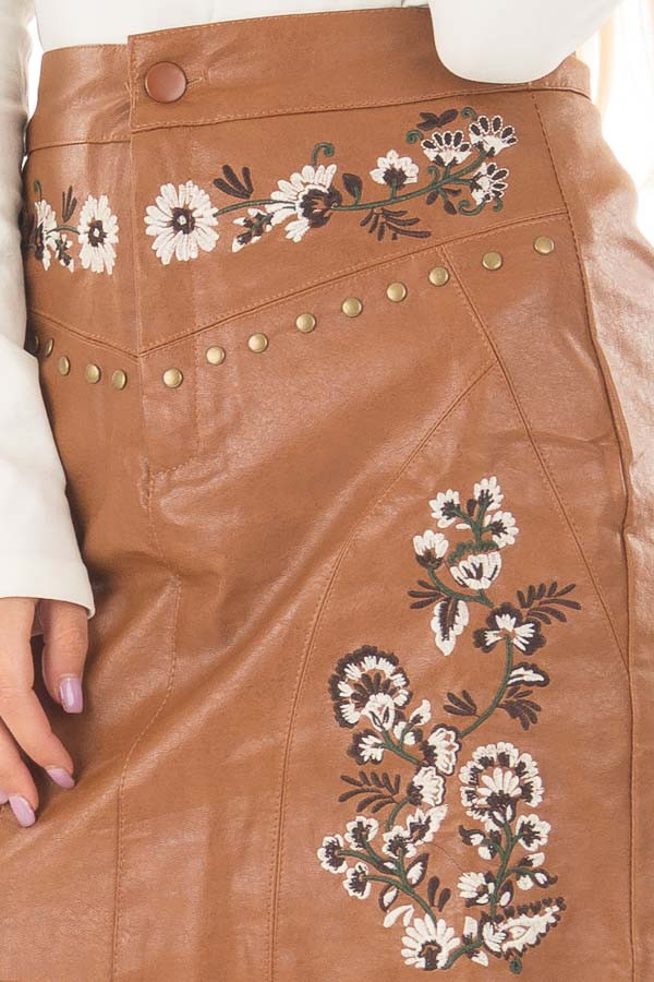 Toffee Embroidered Faux Leather Short Skirt detail