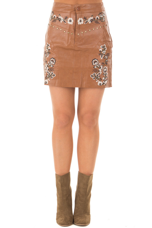 Toffee Embroidered Faux Leather Short Skirt front