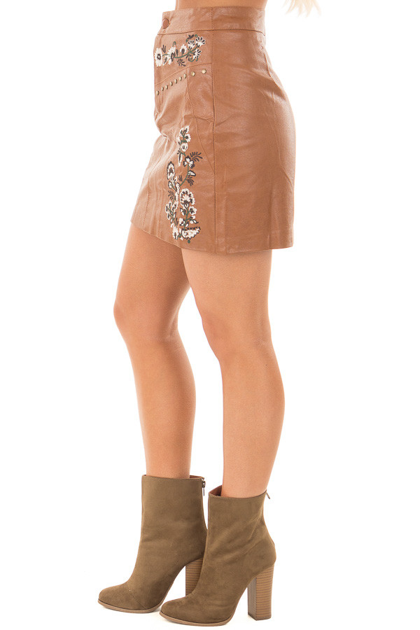 Toffee Embroidered Faux Leather Short Skirt right leg