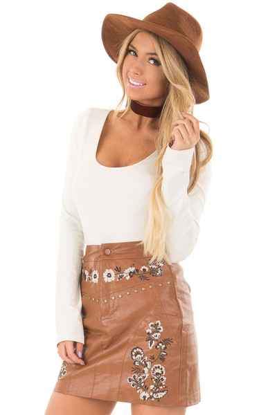 Toffee Embroidered Faux Leather Short Skirt front close up