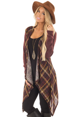 Burgundy Plaid Long Sleeve Open Cardigan front closeup
