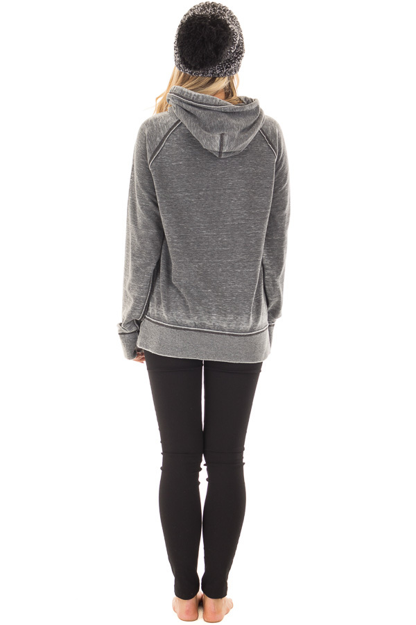 Charcoal 'I Am Freaking Cold' Mineral Wash Comfy Hoodie back full body