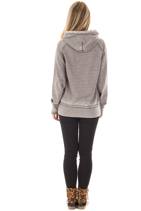 Cloud Grey 'I Am Freaking Cold' Mineral Wash Comfy Hoodie back full body