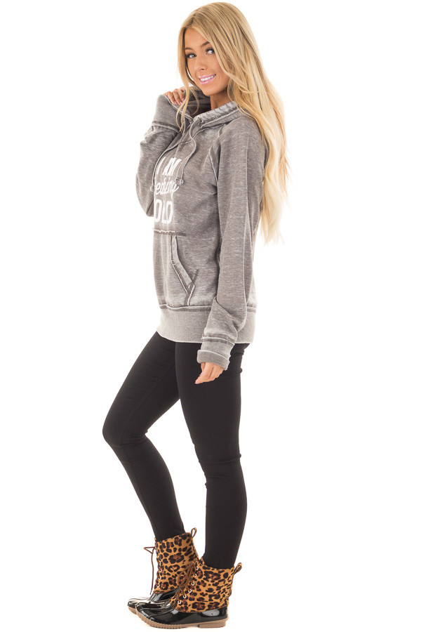 Cloud Grey 'I Am Freaking Cold' Mineral Wash Comfy Hoodie side full body