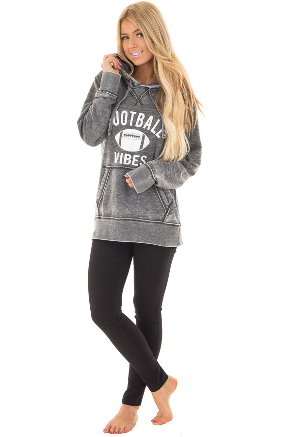 Charcoal 'Football Vibes' Mineral Wash Comfy Hoodie front full body