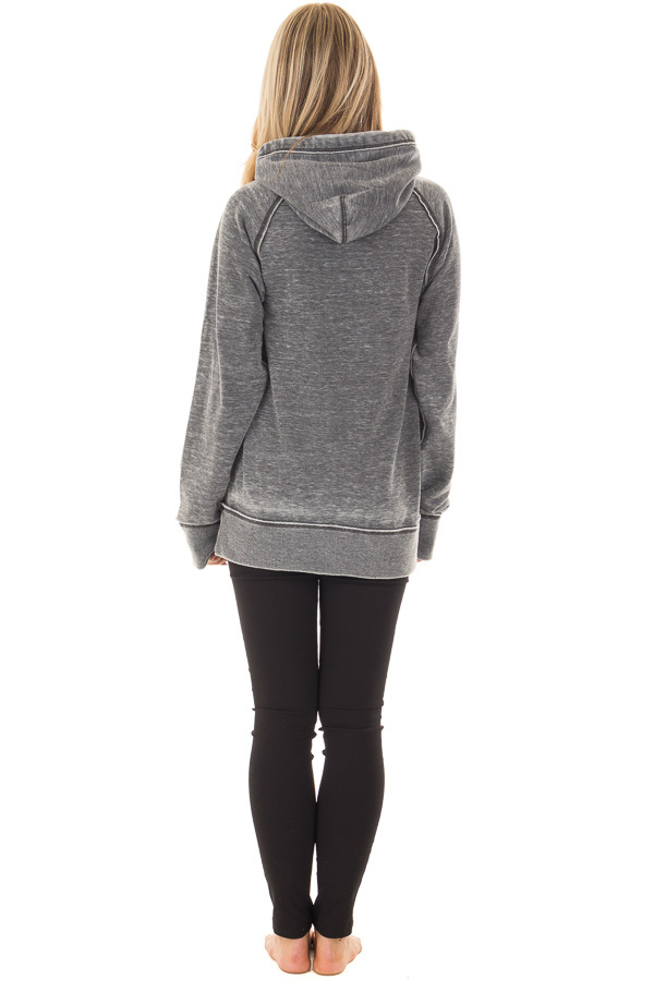 Charcoal 'Football Vibes' Mineral Wash Comfy Hoodie back full body