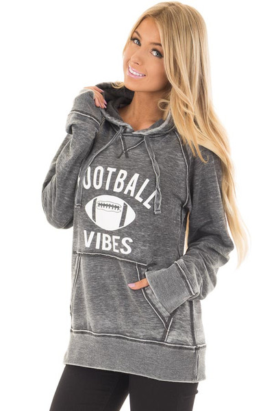 Charcoal 'Football Vibes' Mineral Wash Comfy Hoodie front closeup