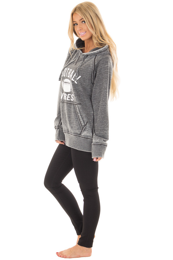 Charcoal 'Football Vibes' Mineral Wash Comfy Hoodie side full body
