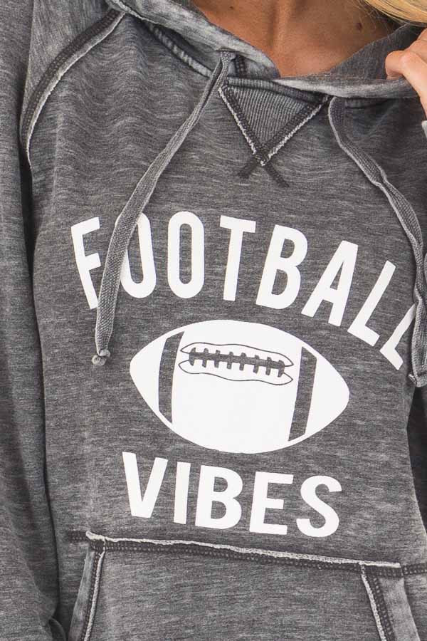 Charcoal 'Football Vibes' Mineral Wash Comfy Hoodie front detail