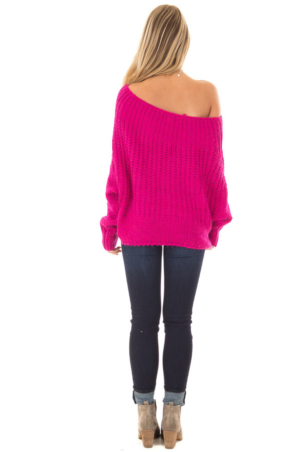 Hot Pink Off the Shoulder Long Sleeve Sweater back full body