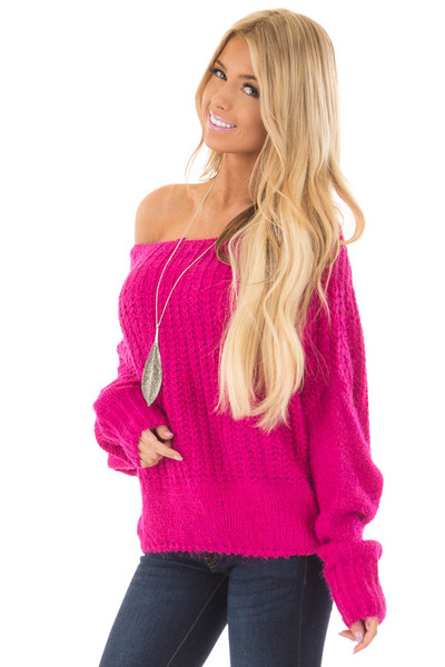 Hot Pink Off the Shoulder Long Sleeve Sweater front close up