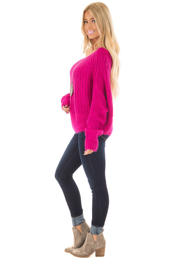Hot Pink Off the Shoulder Long Sleeve Sweater side full body