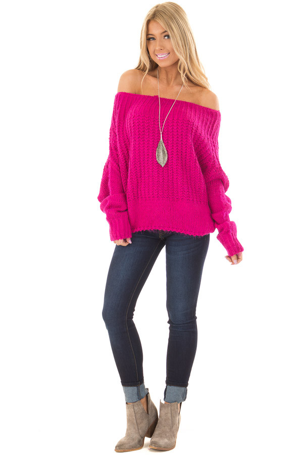 Hot Pink Off the Shoulder Long Sleeve Sweater front full body