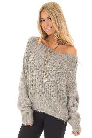 Light Grey Off the Shoulder Long Sleeve Sweater front closeup