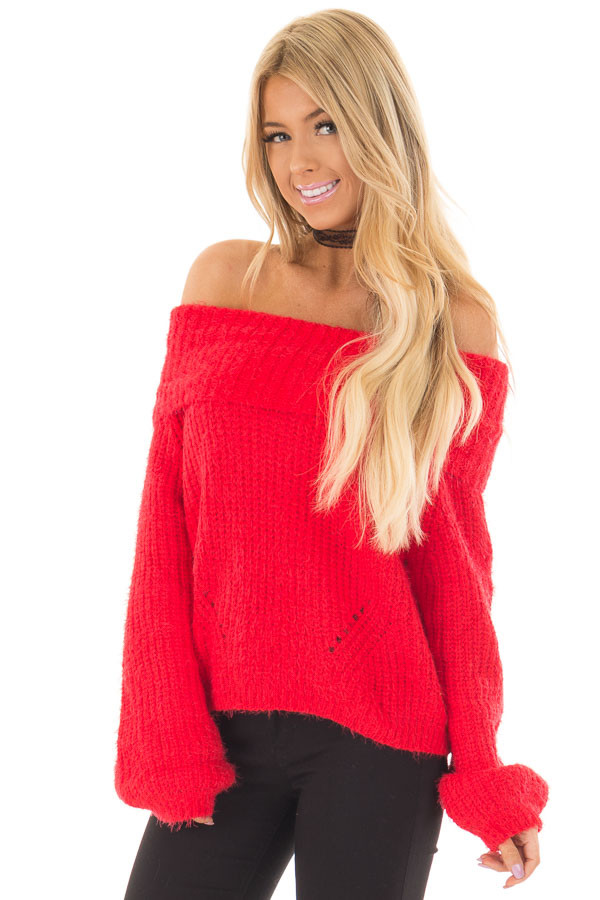 Lipstick Red Off the Shoulder Sweater - Lime Lush Boutique