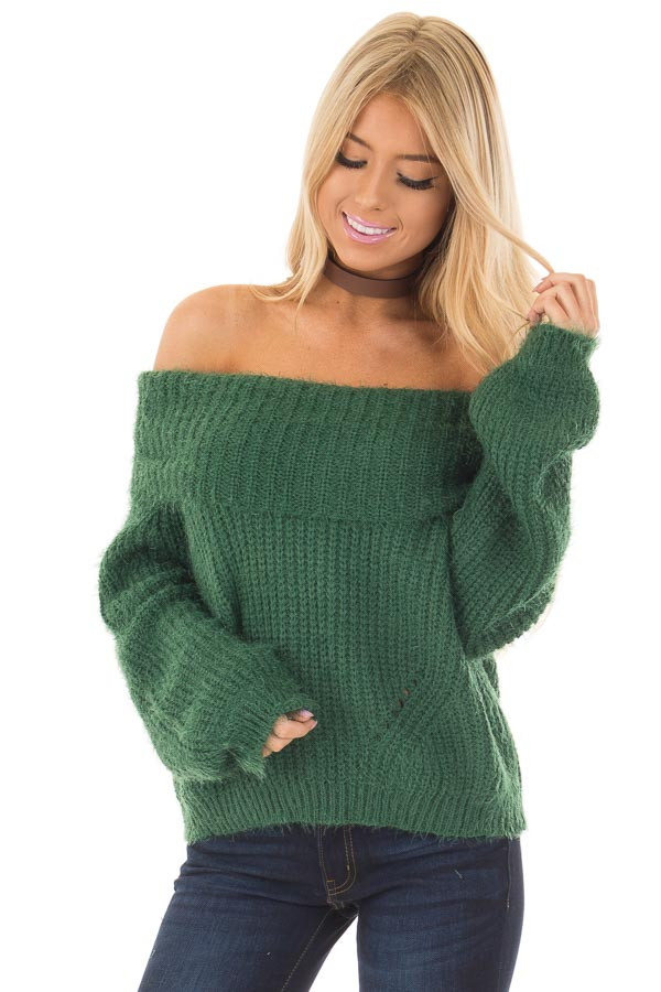 Hunter Green Off the Shoulder Sweater front closeup