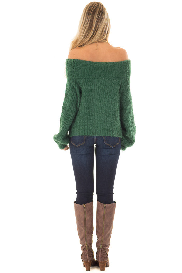 Hunter Green Off the Shoulder Sweater back full body