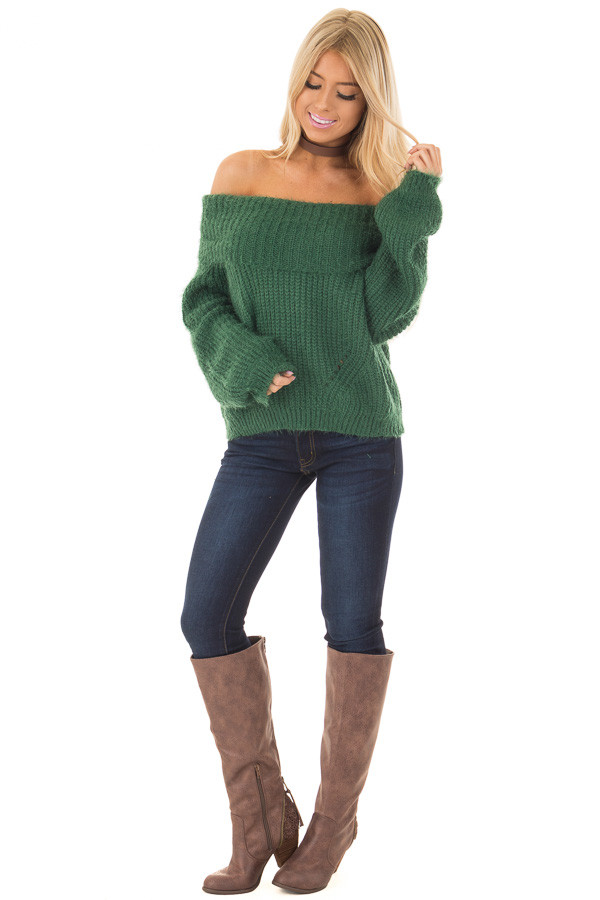 Hunter Green Off the Shoulder Sweater - Lime Lush Boutique