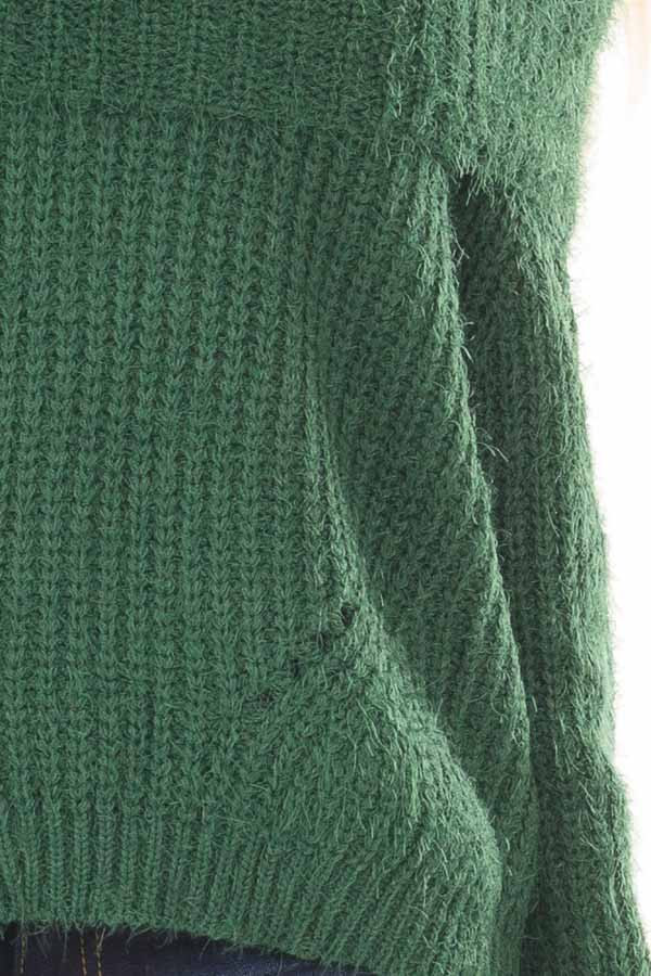 Hunter Green Off the Shoulder Sweater front detail