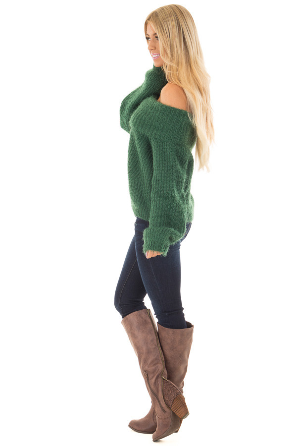 Hunter Green Off the Shoulder Sweater side full body