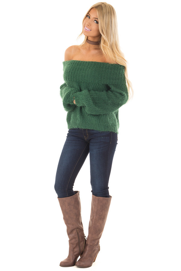 Hunter Green Off the Shoulder Sweater front full body