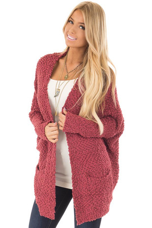 Marsala Thick Knit Cardigan with Side Pockets front closeup