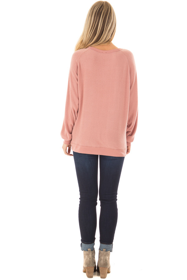 Mauve Soft Sweater with 'Local Girl' Print back full body
