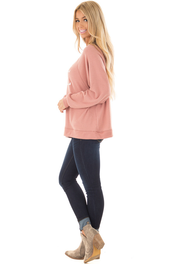 Mauve Soft Sweater with 'Local Girl' Print side full body