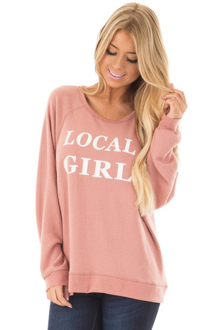 Mauve Soft Sweater with 'Local Girl' Print front closeup