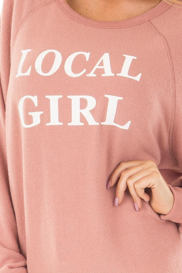 Mauve Soft Sweater with 'Local Girl' Print front detail