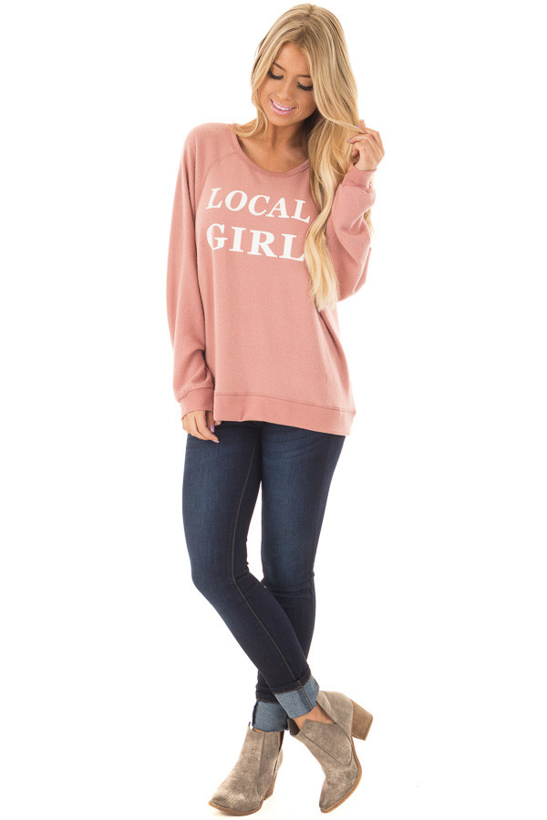 Mauve Soft Sweater with 'Local Girl' Print front full body