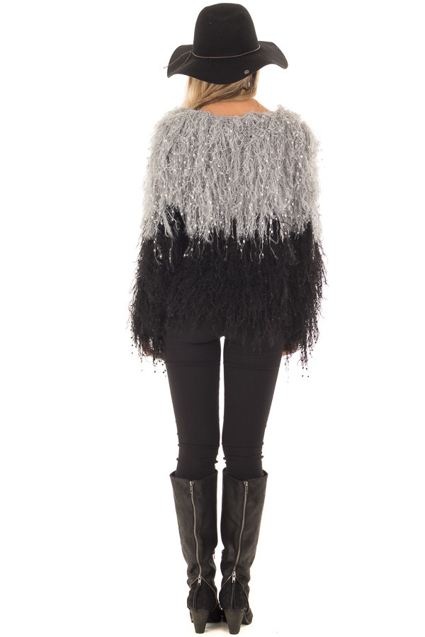 Heather Grey and Black Color Block Fringe Sweater back full body