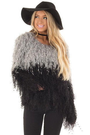Heather Grey and Black Color Block Fringe Sweater front closeup