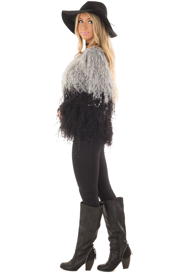 Heather Grey and Black Color Block Fringe Sweater side full body