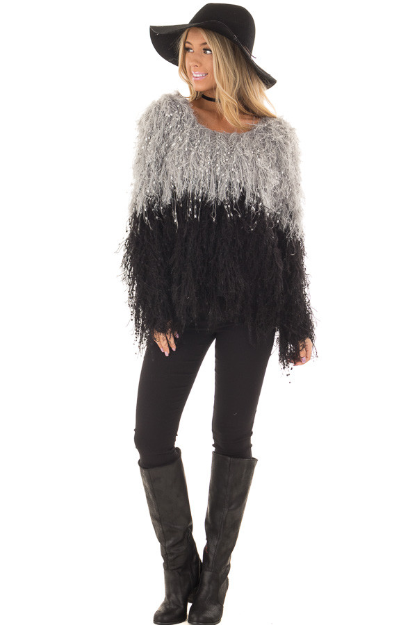 Heather Grey and Black Color Block Fringe Sweater front full body