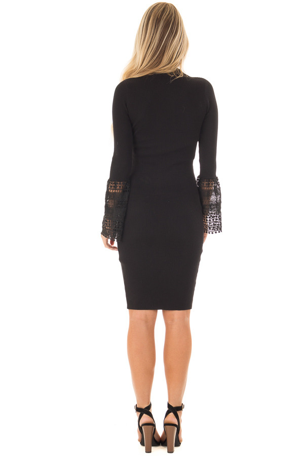 Black Ribbed Bodycon Dress with Crochet Bell Sleeves back full body