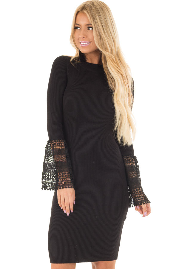 Black Ribbed Bodycon Dress with Crochet Bell Sleeves front closeup