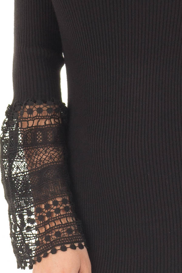 Black Ribbed Bodycon Dress with Crochet Bell Sleeves front detail